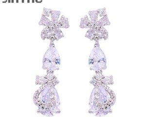 Hot Sale JINYAO Luxury Long Earrings For Women Bridal Sparkling Flowers Zircons Water Drop CZ Stud Earrings Wedding Accessories