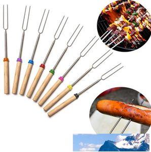 Aço inoxidável para churrasco Marshmallow Roasting Sticks Estendendo Roaster telescópica DHB1795
