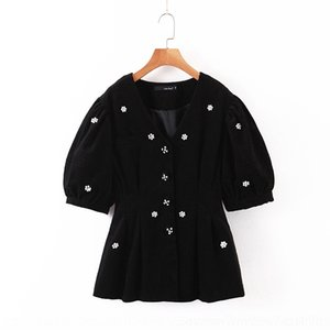 J0Uq8 beaded handmade Elegant bubble sleeve corduroy top + high waist elastic Beaded slimming Jacket Wick Wick skirt skirt suit