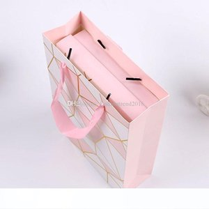 Pink Color Paper Gift Bag with Handle Valentine's Day Wedding Birthday Party Packing Bags
