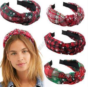 Mujeres Big Bow KNOT Hairband Dientes antideslizantes Dientes para el cabello Copo de nieve Cruz Cross Knot Bandas Christmas Plaid Turban Head Wraps Girls Headband D91702