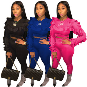 Sweet Ruffle Sleeve Femmes Tracksuits Fashion Automne Ensembles 3 couleurs plus Taille Taille Two Womens Set