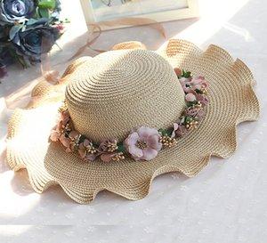 V1FXI Açık geniş kenarlı güneş koruması Straw güneş kadınların yaz hasır şapka çiçek dalgalı çelenk plaj şapkası gelgit
