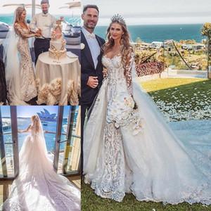2021 Modest Long Sleeves Wedding Dresses Mermaid with Detachable Chapel Train Plus Size Lace Applique Crystal Wedding Gown vestido de novia