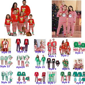 Noël pour enfants Boy filles adultes de la famille Matching Noël cerf Striped Pajamas vêtements de nuit Pyjama parent-enfant Party Pyjama HH9-3304