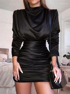 Baskılı Pileli BODYCON Elbise Kadın 2020 Lüks Tasarımcı Giyim Sonbahar Kadın Tasarımcı Kalça Elbise Kaplumbağa Boyun Katı Renk