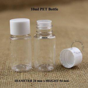 50pcs lot 10ml Plastic PET Facial Cream Lotion Bottle 1 3OZ Emulsion Container Packaging White Screw Cap Refillable Pot
