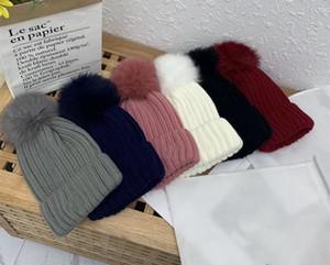 الشحن المجاني جديد شتاء الطفل الاطفال قبعات صلبة الدافئة صوف محبوك لطيف فوكس الفراء الكرة الأطفال قبعة عنق مسخن كاب حجم واحد