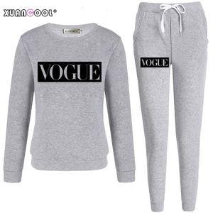 Xuancool 2020 трексуит для женщин осень зима мода модные буквы рукава толстовка длинные брюки набор женский наряд S-XXL