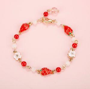 Fashion Jewelry Strawberry Fruit Charms Bracelets Bangle Simple Sweet Lovely Heart Pearl Bracelet Christmas Gift For Girl Women