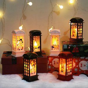 Decorazioni di Natale Piccolo vento Lanterne Babbo Natale Pupazzi di neve LED Night Lights Christmas Party Desktop ornamenti Lanterna lampade L