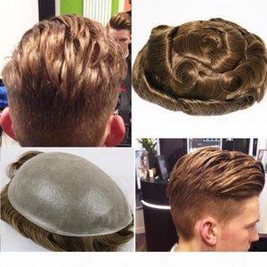Eversilky 0,03-0,04 dünne Haut Toupet für Männer Herren Haarteile Ersatzsystem 1B65 Farbe Menschliches Haar Mens Perücke