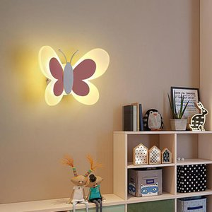princess led Butterfly Lamp mirror led sconce Fixtures Children Room Acrylic Shade Wall Sconce Boy Girl strip Wall Light