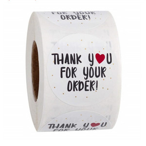 Round Thank You for Your Order Sticker White Labels Sticker Heart Thanks for Shopping Small Shop Local Gift Packaging Sticker DHL free 2016