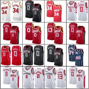 HoustoncohetesJersey James Harden 13 Hakeem Olajuwon 34 Russell Westbrook 0 3 Chris Paul baloncesto de los hombres 2020 nueva