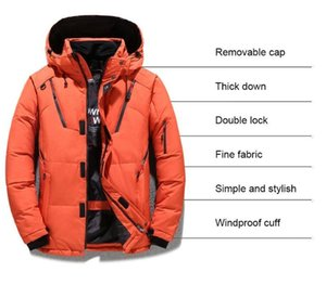 Mens winter jacket warm and thick fit short down jacket zipper Hooded Coat can be hand washed without wrinkles Down