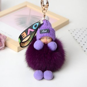QIMING Tail Car Keychain Real Fur Tail Charm Tassels Pendants Ornaments  Accessories on Bags Shoes for Women Men
