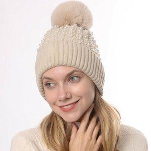 Beanie Skull Caps 2021 Arrival Women Winter Outdoor Hat Warm Knitted Beanie Pom Ladies Crochet Ski Cap