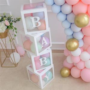 Şeffaf Adı Letter Box Ambalaj Balon Kutusu Bebek Dekor Düğün Lateks Macaron Balonlar 1 Doğum Günü Partisi Dekorasyon