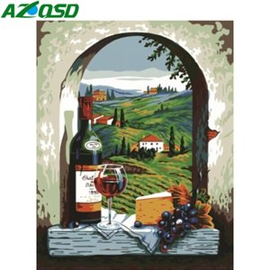 AZQSD Coloring By Numbers DIY Landscape Drawing On Canvas Oil Painting By Numbers Wine Glass Acrylic Paint Handmade Gift