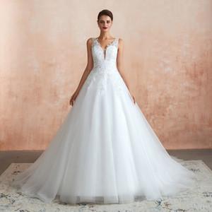 Vestido de novia vestido de bola Jiayigong Sexy cuello en V sin mangas con lentejuelas apliques de tul vestidos de boda Vestido de Noiva Vestidos de novia