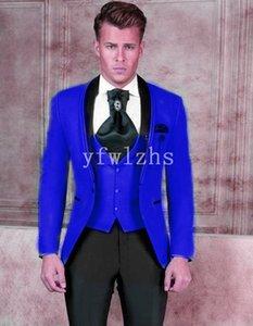 Handsome One Button Groomsmen Shawl Lapel Groom Tuxedos Mens Wedding Dress Man Jacket Blazer Prom Dinner suits (Jacket+Pants+Tie+Vest) W305