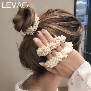 Capelli elastici Levao 1PC perla in rilievo per Crystal delle donne delle ragazze Beads gomma Scrunchies Coda di cavallo dei capelli della corda Accessori