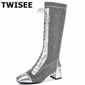 women knee high boots hot selling autumn warm square toe pumps square heel woman casual shoes comfort cross tied 3AJU#