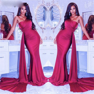 Prom Dresses Red One Shoulder Satin Pleated Mermaid Evening Gowns With Zipper Back vestidos de fiesta de noche