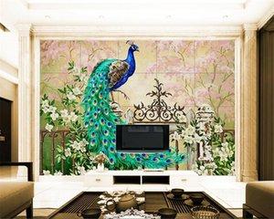 Diantu personalizzato grande carta da parati pittura a olio moderna della decorazione della casa carta da parati Pavone europeo per le pareti 3 d Papel de Parede