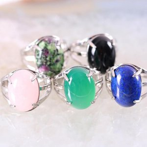 1Pcs Ring Jewelry For Women Gift Natural Stone Oval Cabochon Bead Crystal Opal Lapis Onyx Adjustable Finger Ring