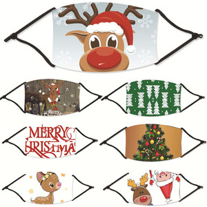 Designer Christmas Masks Deer Printed Xmas Face Masks Anti Dust Snowflake Christmas Mouth Cover Washable Reusable With Masks Filters