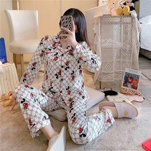 New Arrivals 2020 Lovers Pyjamas Women Silk Satin Pajama Sets Cartoon Bear Couple Pajamas For Women Flower Printed Sleepwear Sets Pijama #878