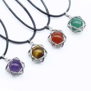 Wholesale 10 pcs Silver Plated Lucky Star Tiger Eye Stone Pendant Rope Chain Necklace Rock Crystal Jewelry