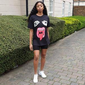 Crew Neck Short Sleeve Casual Apparel Women Summer Big Tongue 3D Print Tshirt Loose Relaxed Designer Female Clothing