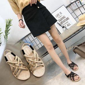 Hot Sale-été Will passage Bandage lin niveau avec Sandales Femme de couleur unie à fond plat Rome Chaussures, Bouchepoisson, chaussures humidité