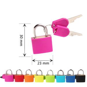 30x23mm pequeno mini forte padlock de metal viajar mala diário livry bloqueio com 2 chaves segurança bagagem cadeado decoração 8 cores dbc bh4075