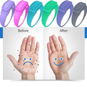 Portátil de mano pulsera desinfectante Bombas Botellas pulsera de silicona desinfectante dispensador del desinfectante pulsera de brazalete dispensación DHE1629