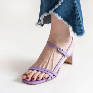 Nuova luce viola 2020 donne Gladiator Sandals Strap robusti Tacchi Zapatos Femme Red Wine Estate Sandali Mujer Scarpe Chic lavoro