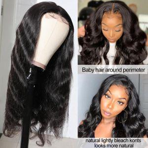 Faux péruvien Scalp dentelle fermeture perruque Pré plumé vague de corps Ali Julia Human Hair Wigs 4,5 « x 1,5 » soie base dentelle fermeture perruque