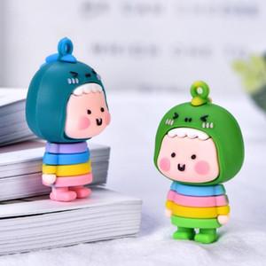 2Pcs Cute Squint Dinosaur Doll Keychain Pendant Desktop Ornament Soft Plastic Non-toxic Cartoon Shape Collectible Toy Gift