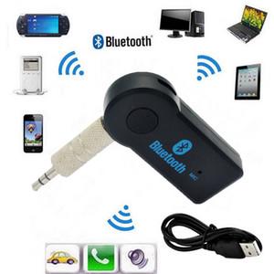 Handfree Car Bluetooth Music Receiver universal de 3,5 mm Transmissão A2DP sem fio Auto AUX adaptador de áudio conector Mic para MP3 Telefone