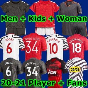 مانشستر 2020 2021 موحد UTD كرة القدم جيرسي VAN DE BEEK B. FERNANDES بالقميص MARTIAL RASHFORD قمصان كرة القدم 20 21 رجل أطفال طقم معدات