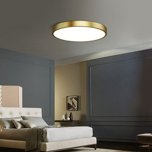 Luces de techo LED de lujo modernos para decoración del dormitorio Círculo de latón acrílico alumbramientos ala del balcón ultrafina Lámparas Ronda
