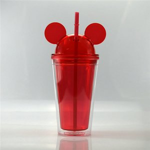 Ood Acheter Plastique Paille acrylique Paille acrylique Cupfreezer Congélateur à double paroi souris en plastique 450ml Cup Congélateur Gel Cupgel grade yxllx xhhair