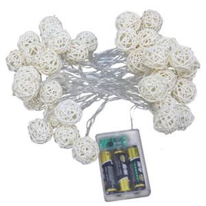 Noel Düğün Dekorasyon Lambaları İçin Led Rattan Işık Dize 1.5M 2.5M 5M Rattan Topu Led String Peri Işıklar