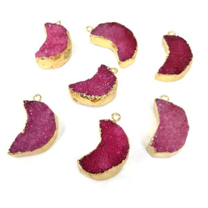 Natural Stone Quartz Pendant Charms Moon-shaped Agates Druzy Pendants for DIY Necklace Earrings Jewelry Making Size 14x25mm