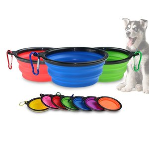 Chien bols en silicone chiot Pliable Bowl Pet alimentation avec bols Escalade Boucle d'extérieur Voyage Portable Dog Food Container GWD1818