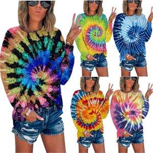 Farbe Langarmshirts Mode Weibliche Kleidungs-Herbst-Frauen Deisnger Lässige T-Shirt lose Abbindebatik Contrast