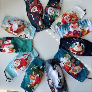 Maschera di Natale puro cotone, panno di cotone puro, valvola di respirazione poliestere-cotone, resistente alla polvere vecchio cervo stampa, imballaggio indipendente